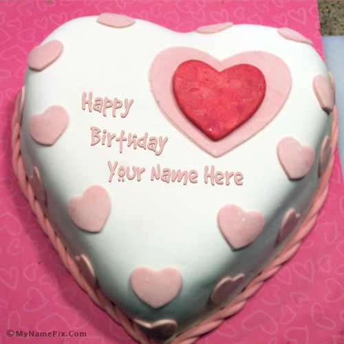 Heart Birthday Cake For Lover With Name