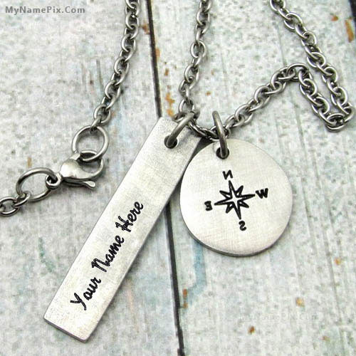 Personalized Compass Necklace With Name