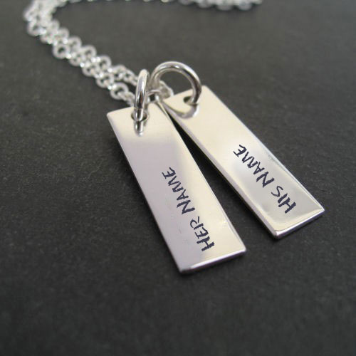 Couple Names Silver Pendant With Name