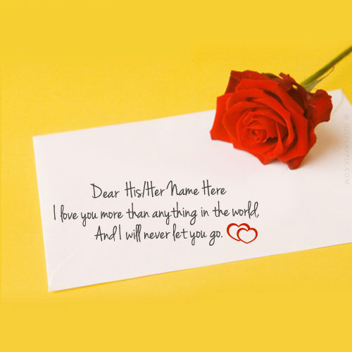Red Rose with Note With Name