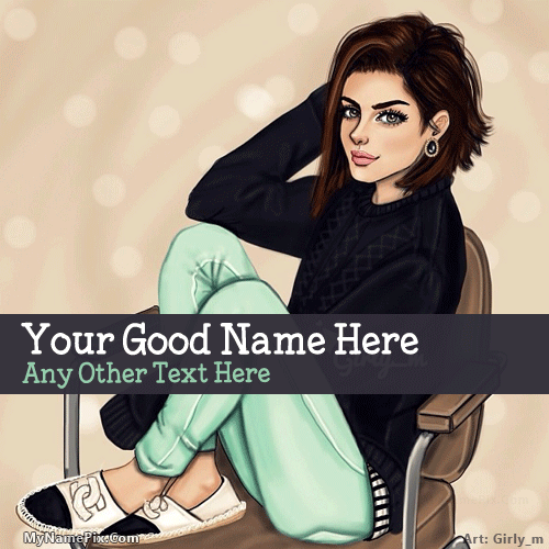 Stylish Girl Drawing With Name